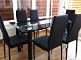 from KOSY KOALA STUNNING GLASS BLACK DINING TABLE SET AND 6 FAUX LEATHER CHAIRS
