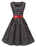 VKStar® 50er 60er Retro Kleider Damen mit Tupfen Abendkleid Vintage Damen Rockabilly Ballkleid Schwarz2 M