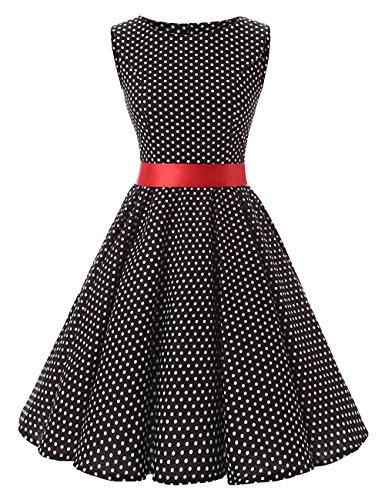 VKStar® 50er 60er Retro kleider damen mit Tupfen Abendkleid Vintage damen Rockabilly Ballkleid Schwarz2 M (60er Jahre Vintage-kleidung)