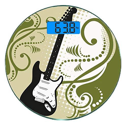Escala digital de peso corporal de precisión Ronda Música Báscula de baño de vidrio templado ultra delgado Mediciones de peso...