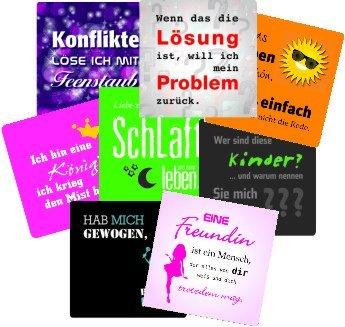 """Bierdeckel """"Sprüche Mix"""", eckig 93 x 93 mm aus Original-Bierfilzpappe (50er Set)"""