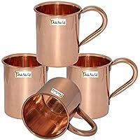 Set di 4 - Rame Prisha India Craft ® Tazza a Mosca Muli 450 ML / 15 oz - 100% di rame puro - laccato Fine Mule Cup, Moscow Mule Cocktail Cup, rame tazze, Tazze Cocktail