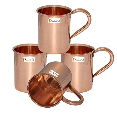 Set di 4 - Rame Prisha India Craft ® Tazza a Mosca Muli 450 ML / 15 oz - 100% di rame puro - laccato Fine Mule Cup, Moscow Mule Cocktail Cup, rame tazze, Tazze Cocktail