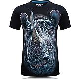 Alamor Mens Rhinoceros 3D Animal Printing Plus Taille S-4Xl Mode Casual T-Shirts Manches Courtes Été T-Shirt-Noir-4XL