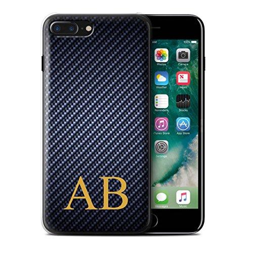 Personalisiert Kohlenstoff-Faser Muster Hülle für Apple iPhone 7 Plus / Blau Stempel Design / Initiale/Name/Text Schutzhülle/Case/Etui Blau Monogramm