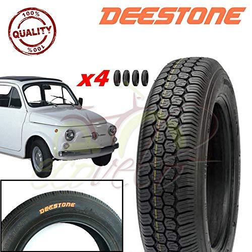 Deestone Kit 4 Pneumatici 125-12C 4PR 62J TUBELESS TL per Ape Piaggio E Vecchia Fiat 500 Epoca Ruote GOMME COPERTONI