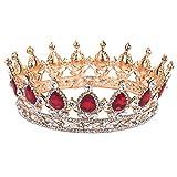 Corona da principessa, decorata con cristalli rossi, accessorio per capelli, per matrimonio immagine