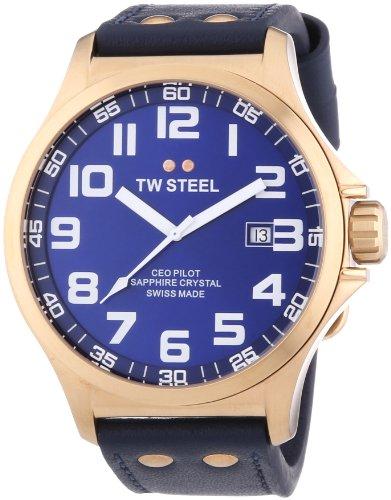 TW Steel  Pilot Swiss Made - Reloj de cuarzo para hombre, con correa de cuero, color azul
