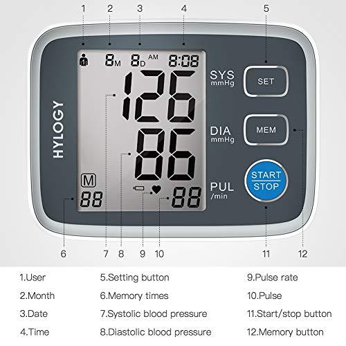 HYLOGY Misuratore Pressione da Braccio Digitale, Sfigmomanometro da Braccio Pressione Arteriosa, Grande Schermo LCD, 2 * 90 Posizioni di Memoria (grigio) (GRIGIO) - 2