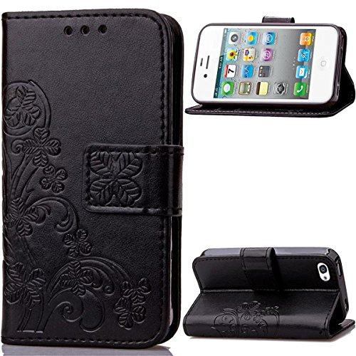 4S Coque, iPhone 4S Coque, Lifeturt [ Violet ] [book-style] Flip Case Coque en PU Cuir Housse de Protection Étui à rabat Case Cover Ultra Slim Portefeuille PU Cuir avec stand de Carte Slots Support Bo E02-Noir2147