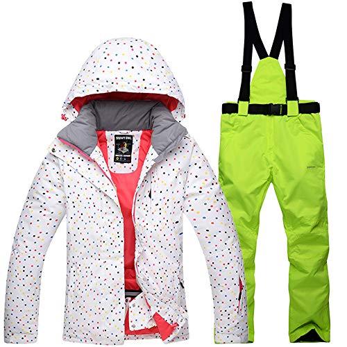 CXJC Damen Skianzüge Skijacke+ Skihose Warmhalten Verdickte Wasserdichte Winddicht Atmungs Kälteschutz Zweiteilig Hosenträger Skihose Mit Kapuze Outdoor Spot,B-S - Bs-spot