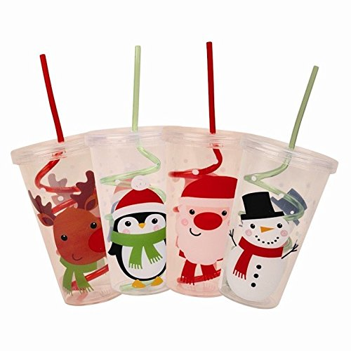Invero® 4x Set Pack of Christmas Designs Cup with Swirly Straw and Lid for Kids Children Gift
