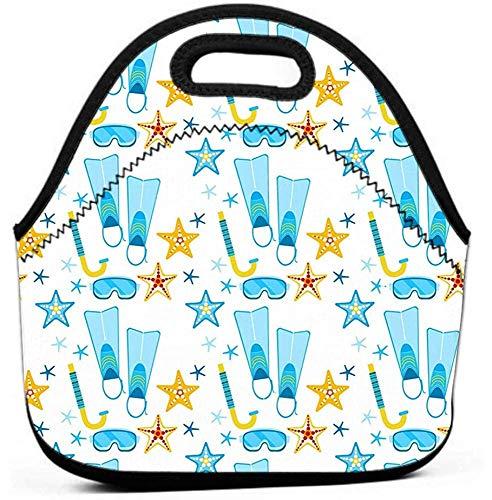 Mittagessen-Tasche mit breiter Öffnung, Mittagessen-Einkaufstasche Brotdose-Tauchflossen maskiert das geometrische Sommerstrand-Ferienkonzept