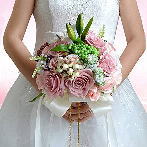 Brautsträuße Handgefertigte Blumenstrauß mit Rosa Lilie für Braut Hochzeit Party LianLe