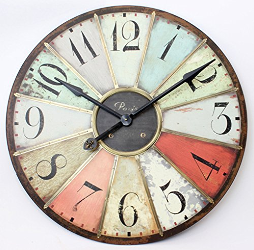 Retro Style Giant Wall Clock in Multicoloured Panels
