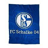 """FC Schalke 04Velourdecke """"blau mit Logo"""" in 150 x 200 cm"""