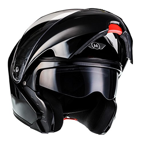 MOTO F19 Gloss Black · Roller-Helm Integral-Helm Helmet Cruiser Klapp-Helm Modular-Helm Motorrad-Helm Scooter-Helm Sturz-Helm Flip-Up-Helm · ECE zertifiziert · zwei Visiere · inkl. Stofftragetasche · Schwarz · L (59-60cm) - 2