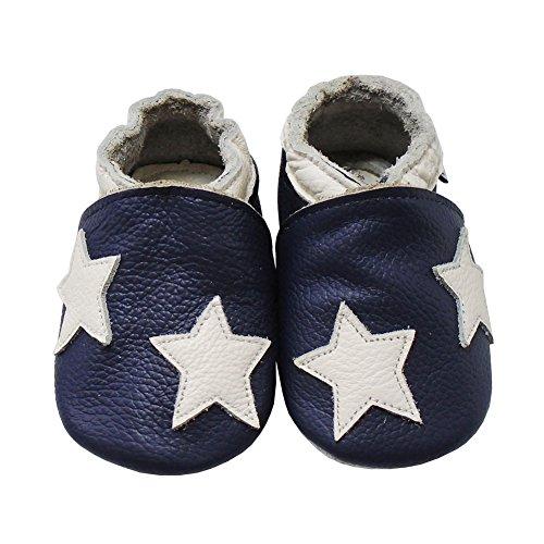 Mejale Weiche Sohle Leder Babyschuhe Lauflernschuhe Krabbelschuhe Kleinkind Kinderschuhe Hausschuhe Karikatur Sterne 0-3 Jahre Marineblau
