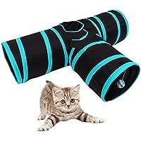 Túnel para gatos plegable de 3 vías túnel de juguete con pelota para gato, divertido tubo de calidad premium para gatos, conejos y cachorros
