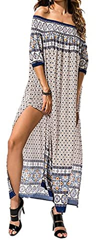 KE1AIP Womens Boho Loose Beach Maxi Robe sans bretelles Summer Print Floral Dresses (Light coffee)