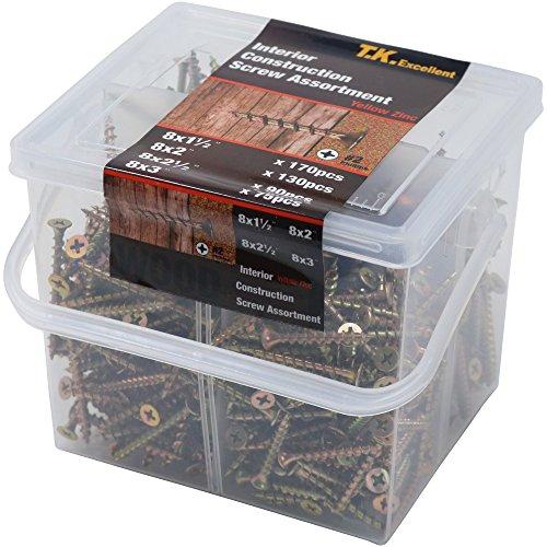 Connex DP8500085 Estuche con tornillos surtidos cabeza de Torx, cabeza avellanada, 900 unidades, galvanizados