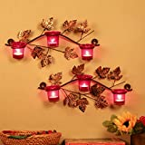 #4: Homesake Maple Leaf Wall Mount With 3 Votive Red, Wall Candle holder and free Tealight candles