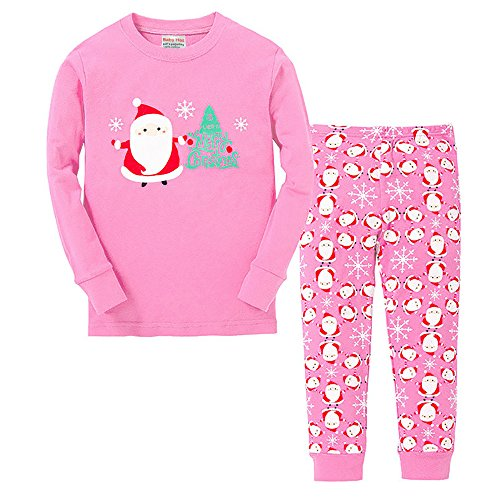 e31ff72373 Vingi Little Girls Christmas Pajamas Set Children Santa Claus PJs 100%  cotton (Size 3T