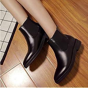 Top Shishang Herbst und Winter wies Mode Leder niedrig dick mit weiblichen Martin Stiefel Chelsea Stiefel und Stiefeletten westlichen Stiefeletten