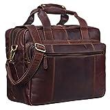 STILORD 'Experience' Vintage Lehrertasche Leder groß für Herren Damen XL Aktentasche Business Schulter- oder Umhängetasche für Laptop Trolley aufsteckbar, Farbe:cognac - dunkelbraun