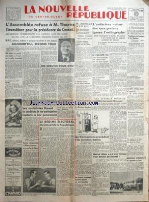 NOUVELLE REPUBLIQUE (LA) du 05/12/1946 - OURAGAN A BORDEAUX - RAZ-DE-MAREE A ARCACHON - LE VOLEUR DES SACS POSTAUX - M. JOUHAUX A L'ONU - LA MOTION CONNALY CONTRE FRANCO EST INEFFICACE - LE CADAVRE D'UNE FEMME DECOUVERT DANS UN FOSSE D'AISANCE - JOHN LEWIS - THOREZ ET L'INVESTITURE - LE REGIME ELECTORAL DU CONSEIL DE LA REPUBLIQUE - MARCEL GLASS A-T-IL ETE VICTIME D'UN DRAME PASSIONNEL - ATTENTATS A LA GRENADE AU CAIRE - LES TROUPES IRANIENNES AURAIENT PENETRE EN AZERBAIDJAN - EDOUARD HER