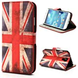 Flip Case Business Case Etui Cover Samsung Galaxy S4 UNION JACK England Flagge UK-Fahne Book Check GT-I9505 / GT-I9500, Galaxy S4 LTE+ / GT-I9506