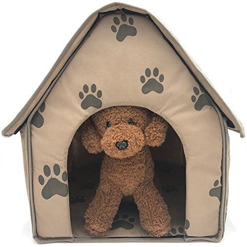ZIME Casas de perro pequeño - patrón de huellas pequeñas lindo y divertido  Cama para dormir de mascotas con extraíble, suave y plegable Alfombrilla de ratón de nido de gato