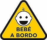 Pegatina Bebe a Bordo Niño amarillo 20 x 18 cm | Adhesivo de Fácil Colocación | Pegatina Bebe a...