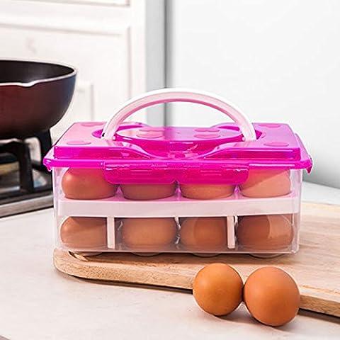 Lugii Cube Portable double couche 24œufs frais Gardant Boîte de rangement Grille anticollision, rouge