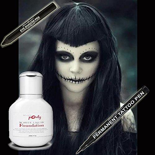 Scary halloween strega cattiva makeup set di 3–miss pouty bianco foundation fluidi, stargazer nero semi permanente tattoo pen and star gazer nero ombretto pen-adatto per adulti e bambini