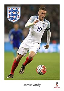 World cup 2018 England Poster - Jamie Vardy - Action Shot - Russia 2018 England Poster/Wall Art/Print