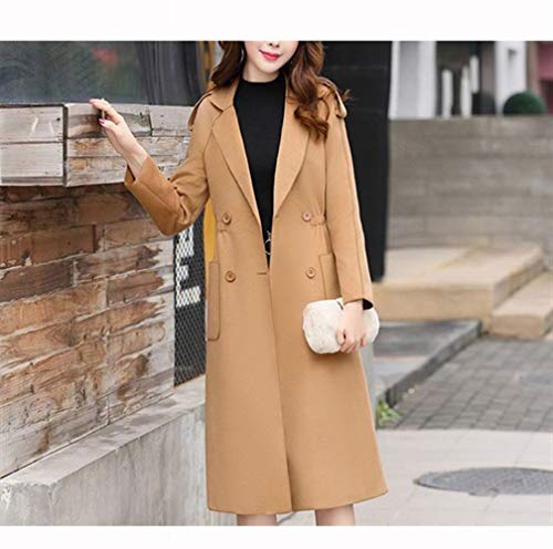 XQY Mantel Jacke, Wollmantel, Winter Koreanische Mantel, Lange Abschnitt Taille Abnehmen Temperament Wollmantel, Damenbekleidung,Khaki,XL -
