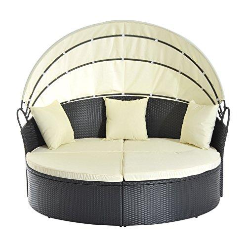 Outsunny® Sonneninsel Lounge Sonnenliege Gartenliege Garnitur Gartenset mit Dach, Polyrattan, 171x180x155cm - 3