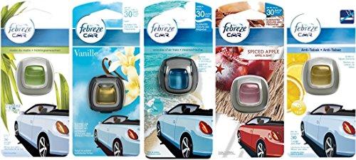 Preisvergleich Produktbild Testbundle - Febreze Car - Antitabak+Apfel-Zimt+Meeresfrische+Vanille+Frühlingserwachen