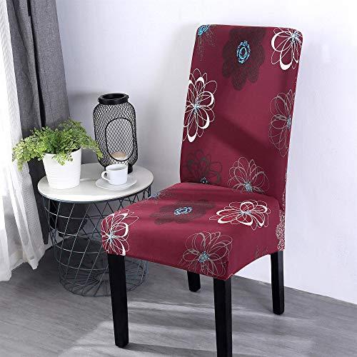 Coprisedie con schienale elasticzzato, morbuy boemia stampa coprisedile sala da pranzo hotel cerimonia banchetto lavabile estraibile party decor (4 pezzi,fiore rosso)