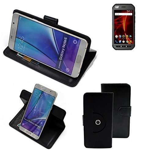 K-S-Trade® Hülle Schutzhülle Case für Caterpillar Cat S41 Dual-SIM Handyhülle Flipcase Smartphone Cover Handy Schutz Tasche Bookstyle Walletcase schwarz (1x)
