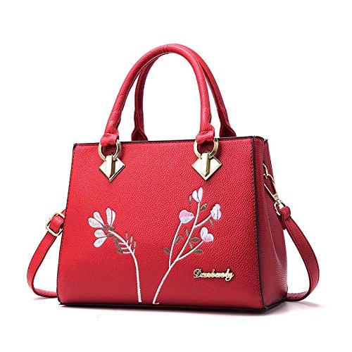 LiZhen Ms. pacchetti femmina nuovo elegante confezione Cina wind spalla un algebra lineare borsetta retrò ricamo pacchetto killer, rosso Rosso