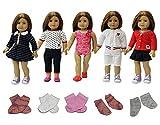 ZITA ELEMENT Vestiti per bambole- 5 costumi giornalieri vestiti da abito + 3 calzini adatti per American Girl Doll e altre bambole da 18 pollici - Stile casuale