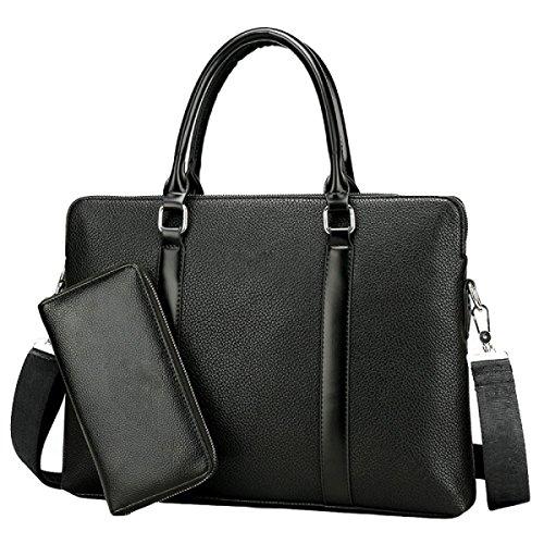 Geschäfts-Handtaschen-Männer Aktenkoffer-Schulter-Kurier-Beutel-horizontale Art- Und Weisecomputer-Beutel Black