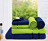 #2: Story@Home 6 Piece 450 GSM Cotton Towel Set - Navy and Lime