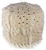 Pouf Handira Artisanal Marocain Beige en Laine et Cotton - Fait Main - Coussin de Sol, Ottoman, Kilim
