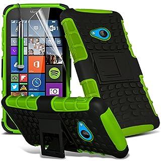 i-Tronixs (Grün) Microsoft Lumia 640 hülle Hochwertige Starke und haltbare Survivor Hard robuste Stoßfest Heavy Duty bei zurück Stand Skin Case Cover& Screen Protector