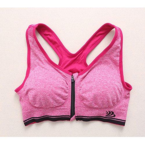 kofun Sport Reggiseno Donna Yoga Allenamento Fitness Stretch Senza Giunte Racerback Zip Imbottito Sport Reggiseno, rosa rossa, Grande Rosa Rossa
