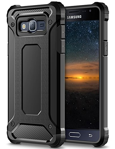 Samsung Galaxy J3 (2016) DUOS Hülle, Coolden Outdoor Fallschutz Case Doppelte Schutz Soft Flex Silikon TPU Schale + Hard PC Bumper Cover Stoßfest Schutzhülle für Samsung J3 2016 Handyhülle (Schwarz)
