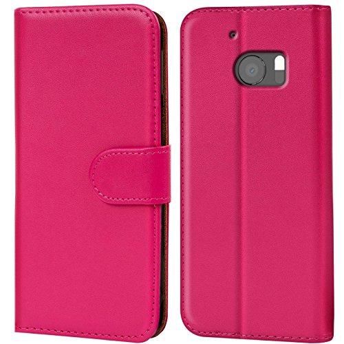 Verco HTC 10 Hülle, Handyhülle für HTC 10 Tasche PU Leder Flip Case Brieftasche - Pink